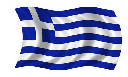 waving greek flag Stock Photo