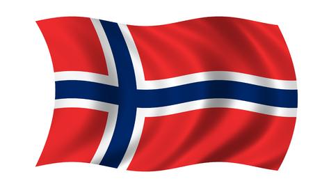 waving norwegian flag Stock Photo