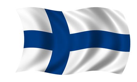 フィンランド国旗を振る