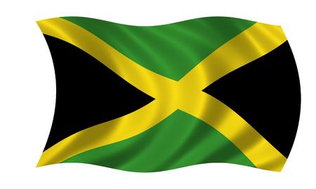 waving jamaican flag Stock Photo