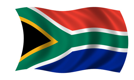 waving south african flag Stock Photo