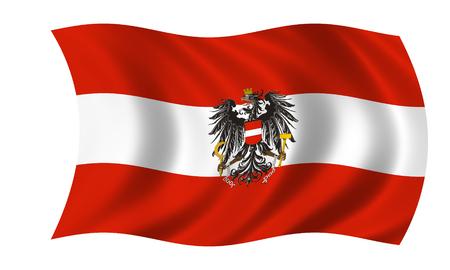 waving austrian flag with eagle Stock Photo