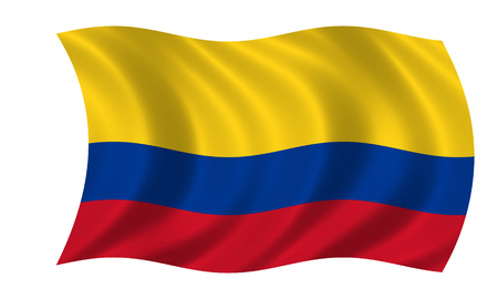 waving colombian flag in wind Stock Photo