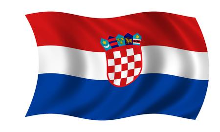 waving croatian flag in wind