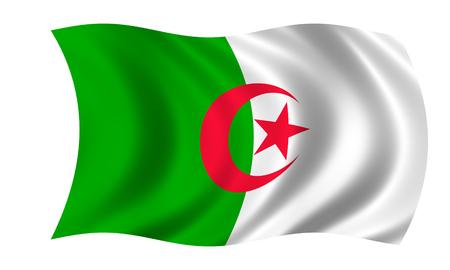 waving algerian flag in wind 写真素材