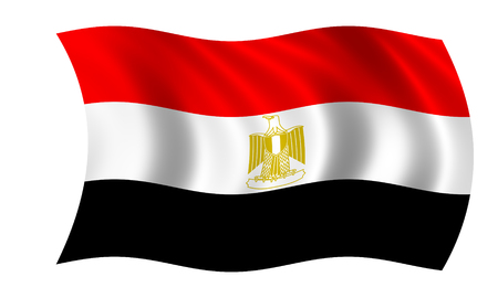 waving egyptian flag in wind