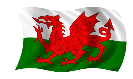 waving welsh flag in wind