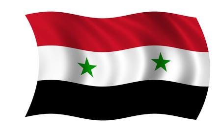 waving syrian flag in wind