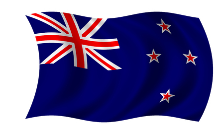 waving new zealand flag in wind Stock Photo