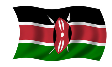 waving kenyan flag in wind