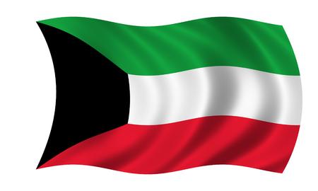waving kuwait flag in wind