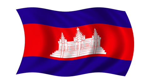 waving cambodian flag in wind