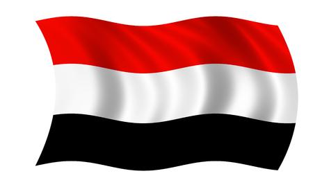 waving yemen flag in wind Zdjęcie Seryjne