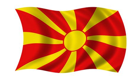 waving macedonian flag in wind