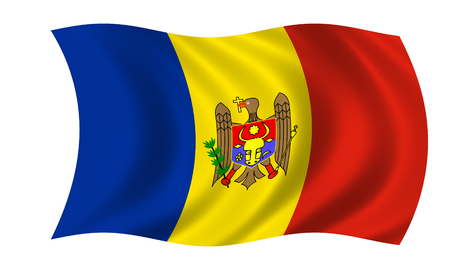 waving moldovan flag in wind 版權商用圖片