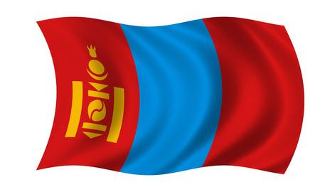 waving mongolian flag in wind