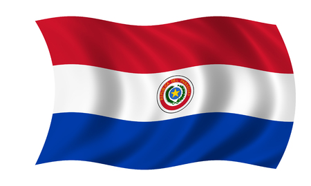 waving paraguayan flag in wind