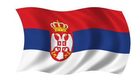 serbian flag in wind