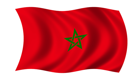 waving moroccan flag in wind