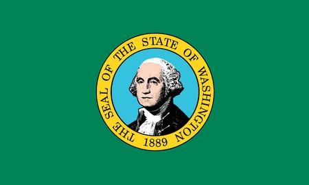 flat washington state flag - usa