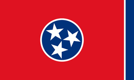 flat tennessee state flag - usa