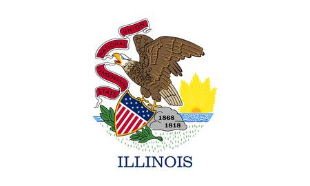 flat illinois state flag - usa