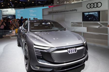 Hannover, Germany - June 13, 2018: Audi shows the Audi Elaine autonomous concept care-tron at CeBIT 2018. CeBIT is the worlds largest trade fair for information technology.
