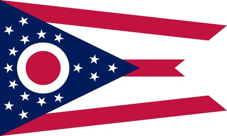 flat ohio state flag - usa