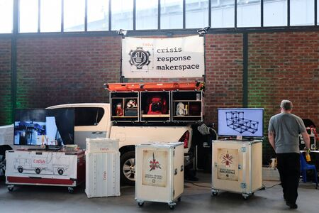 Berlin, Germany - May 3, 2018: Presentation of cadus crisis response makerspace at re:publica 2018. re:publica is a conference about Web 2.0, especially weblogs, social media and the digital society. 報道画像