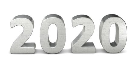 New year text silver 2020 3d rendering