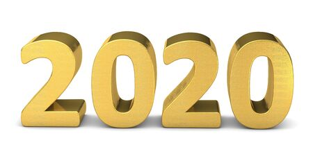 New year text gold 2020 3d rendering
