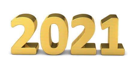 New year text gold 2021 3d rendering 写真素材
