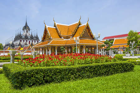 pavilion at a temple in garden of thailand photo
