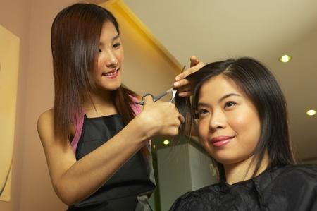 Woman cutting hair in a hair salon Stock Photo - 11629061