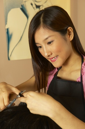 Hairdresser cutting hair for her customer Stock Photo - 11629058