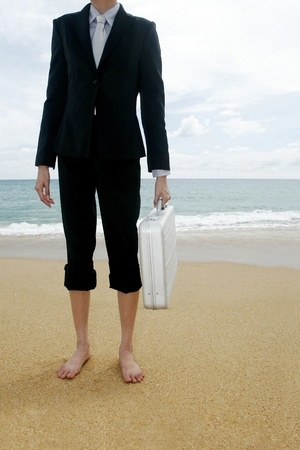 Businesswoman carrying briefcase on the beach. Stock Photo - 11629829