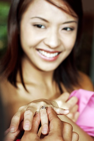 Woman receiving an engagement ring. Stock Photo - 11630015
