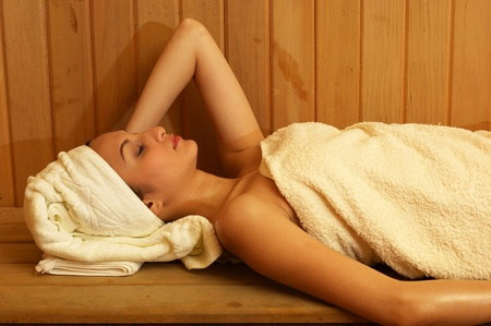 Woman having steam bath Stock Photo - 12593037