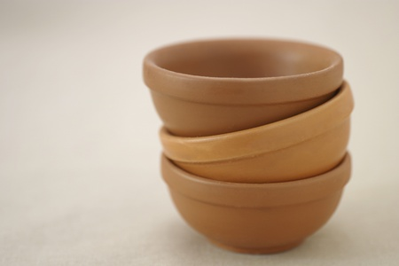 Pile of three clay bowls Stock Photo - 12642867