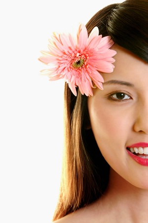 portraits of woman with flower on head Stock Photo - 12642901