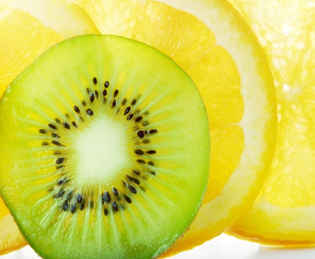 Sliced oranges and kiwi fruit
