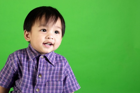 Studio shot of boy in checkered shirt on a green background Stock Photo - 12643359