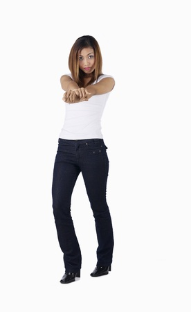 Studio shot of woman giving her best pose to the camera Stock Photo - 12643381