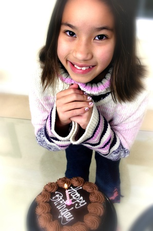 Top angle view of girl making a wish in front of her birthday cake Stock Photo - 12643888