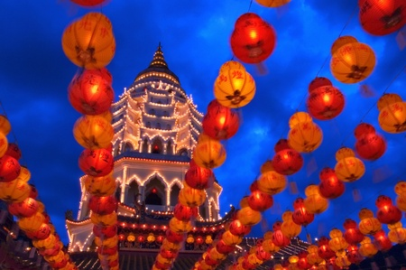 Pagoda and Lanterns at Night Stock Photo - 12644111