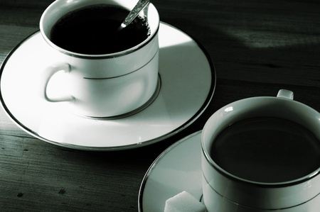 Two cups of black coffee Stock Photo - 12644458