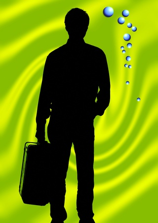 Silhouette of man carrying a briefcase Stock Photo - 12644924