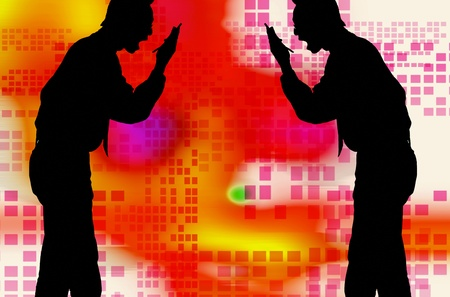Silhouette of men screaming into the mobile phone Stock Photo - 12644939