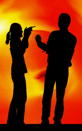 Silhouette ofcouple quarreling Stock Photo - 12644950