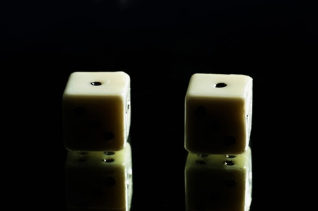 Two dices and its reflections Stock Photo - 12645713